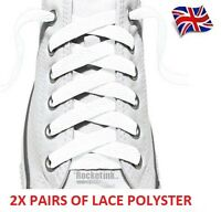 2X PAIRS WHITE FLAT SHOE BOOT LACES TRAINER LACES HIGH QUALITY LONG LASTING