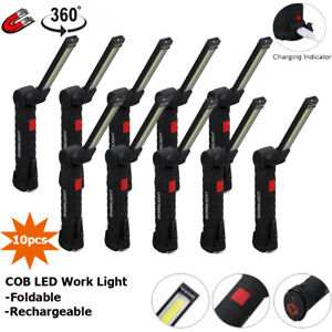 Rechargeable COB LED Slim Work Light Lamp Flashlight Inspect Folding Torch Green
