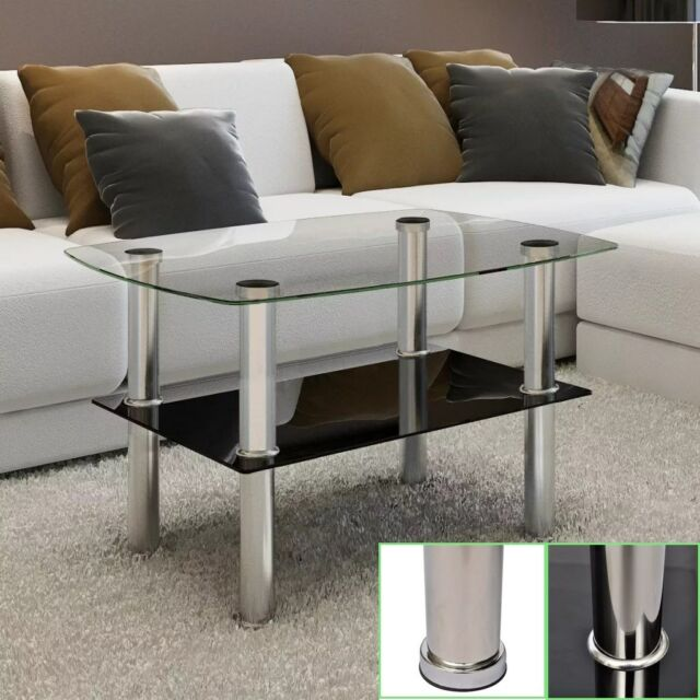 Modern Clear Transparent Tempered Glass Coffee Table 2 Tiers stainless steel leg