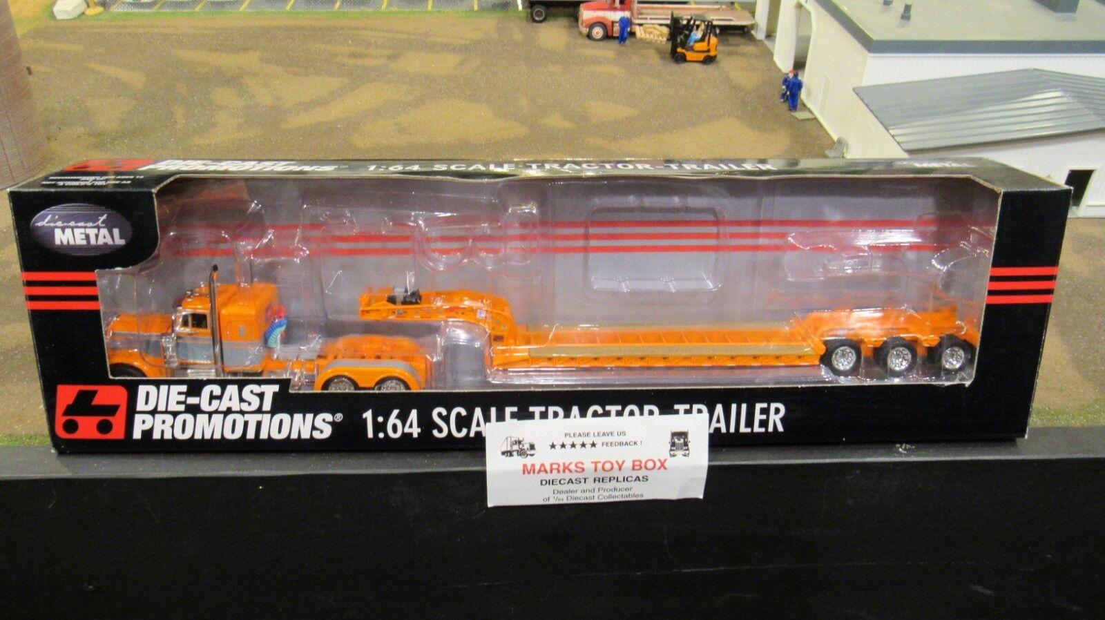 DCP 33554 OWNER OPERATOR PETE 379 SEMI CAB TRUCK & DROP LOWBOY TRAILER 1 64 CL