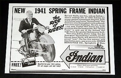 1941 OLD MAGAZINE PRINT AD, INDIAN SPRING FRAME MOTOCYCLES, THE RIDE OF RIDES!