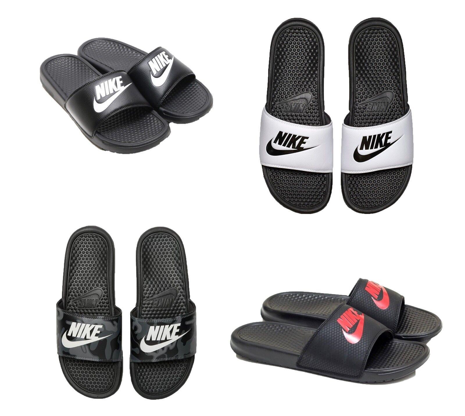 Nuovo 343880 Nike Benassi Jdi Infradito/Sandali 343880 Nuovo Bianco Nero 9 10 11 12 13 14 1a057e