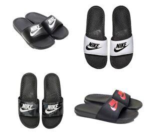 New-Nike-Benassi-JDI-Flip-Flop-Sandal-343880-White-Black-9-10-11-12-13-14