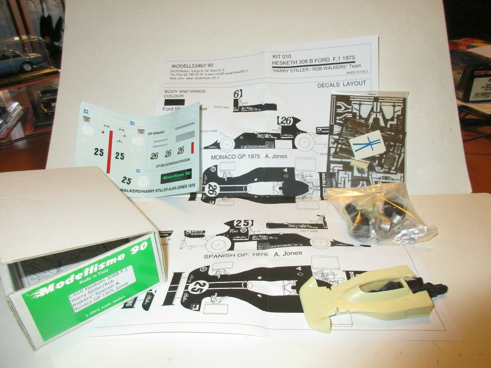 Hesketh 308b f1 Spain and Monaco GP 1975 Jones Kit Model 90 1 43 K 010