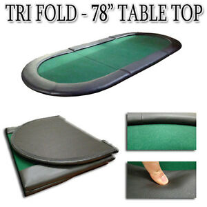 Image Is Loading New Oval Padded Green Tri Fold Poker Table