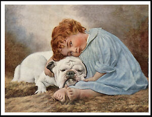 English Picture Print Collie Puppy Dog /& Little Girl Vintage Poster Art