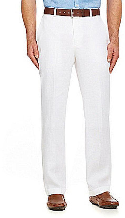 NEW MENS MURANO 32X32 WHITE LINEN DRESS PANTS WITH CUFF CUFFED HEM