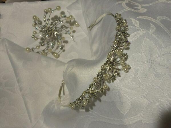 FleißIg Diadem Harrdiadem Hochzeitsschmuck Haarbrosche Np 89,90€ Seien Sie Im Design Neu