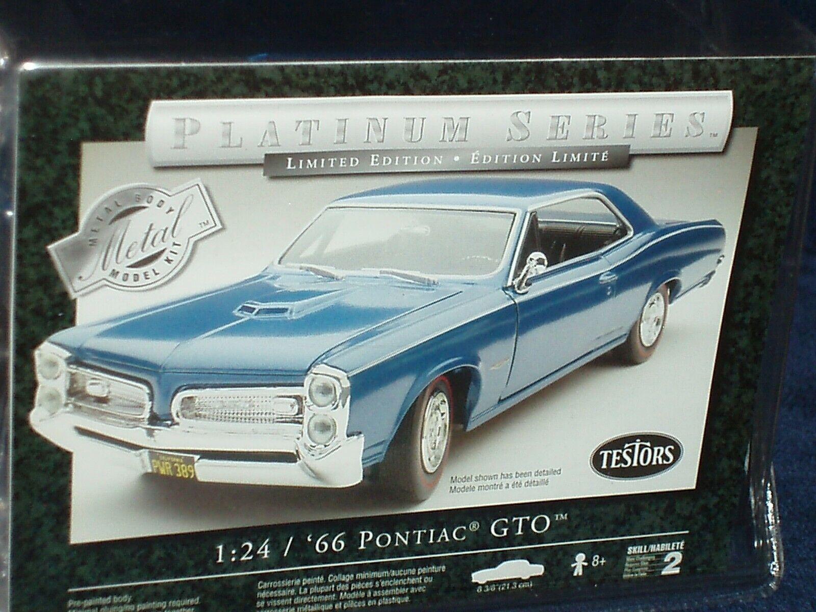 TESTORS 1966 PONTIAC GTO HARDTOP ASSEMBLY KIT 1 24 SKILL LEVEL 2 blueE