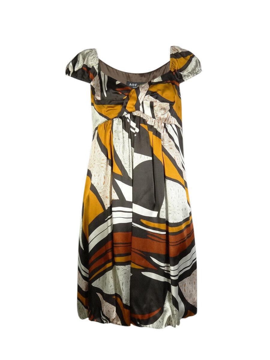 ABS Allen Schwartz Women's Printed Silk Bubble Dress 8, Brown Multi