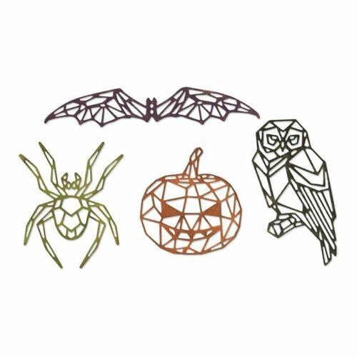Sizzix Thinlits Dies Geo Halloween Tim Holtz 664208 Tim Holtz Spider Pumpkin Bat