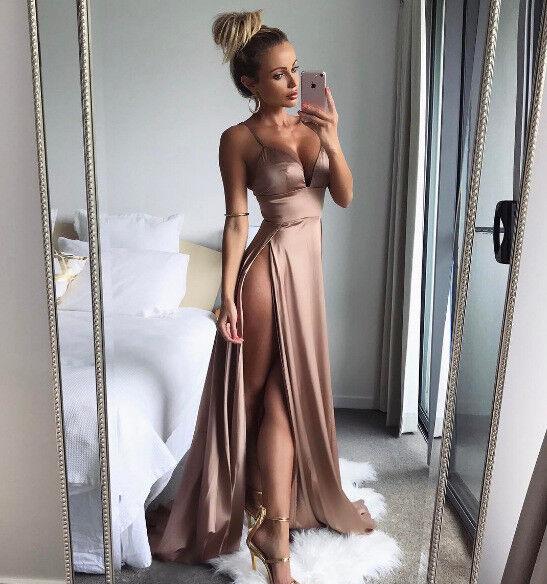 Abito lungo aperto nudo scollo Satinato Spacco Cerimonia Slit Party Dress M