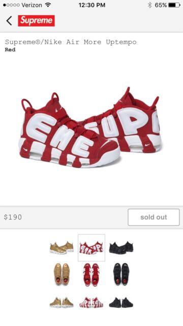 3c99d7f622ed Nike Air More Uptempo x Supreme Men s Size12