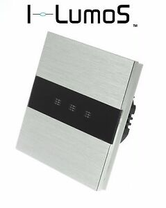 I LumoS Silver Brushed Aluminium Panel Touch Remote Dimmer LED Light Switches