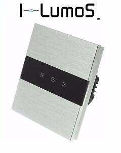 I LumoS Luxury Silver Brushed Aluminium Panel Touch Dimmer LED Light Switches