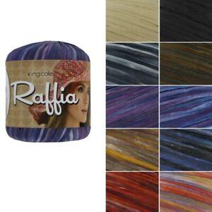 King-Cole-Raffia-Knitting-Yarn-Knit-Wool-50g-Ball-Rayon