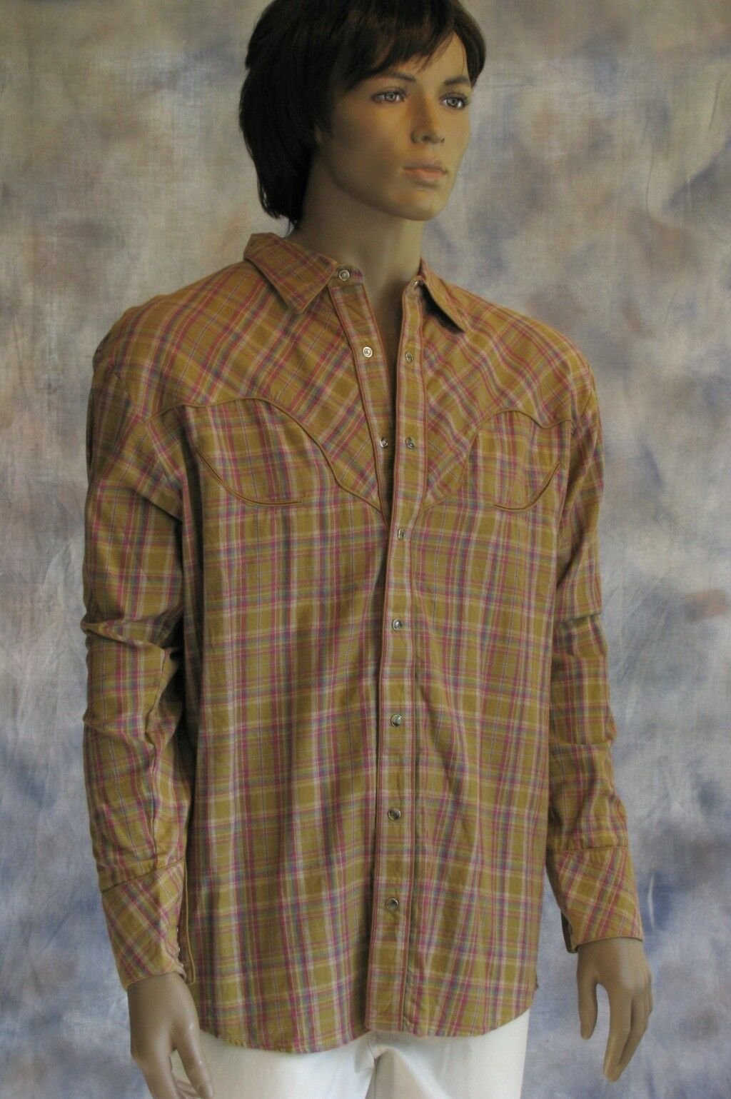 NWOT SCULLY Western Cowboy Show Plaid Shirt Sz L Mustard Pink Purple 100% Cotton