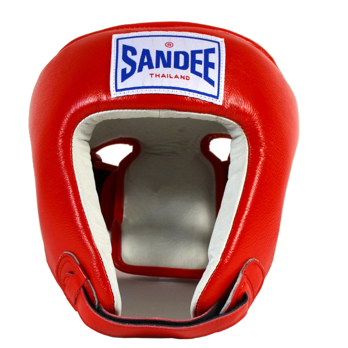 Sandee Open Face Leather Headgear - Small -  Red White  fitness retailer