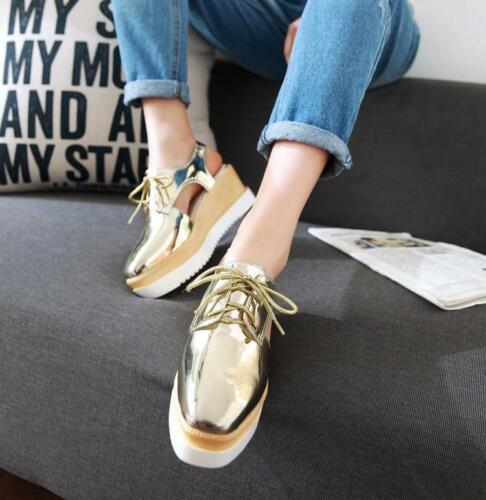 women creeper Platfrom sandals lace up slingback oxford wedge heel platform shoe