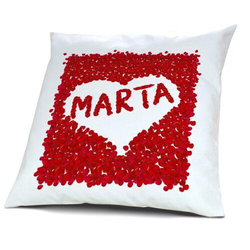 Kopfkissen mit Namen Marta Motiv Rosenherz