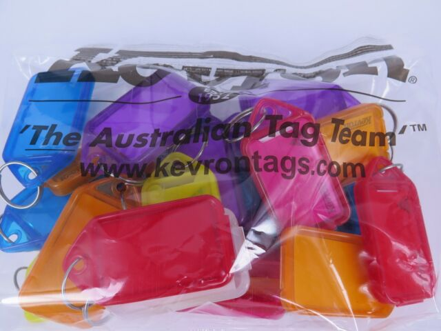 25 x Kevron ID30 Giant Click Tags Key Tags Assorted Colours 74 x 38mm ID30AC25