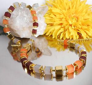 SET-Design-Wuerfel-Collier-Armband-in-Braun-Orange-Grau-Gold-Haematit
