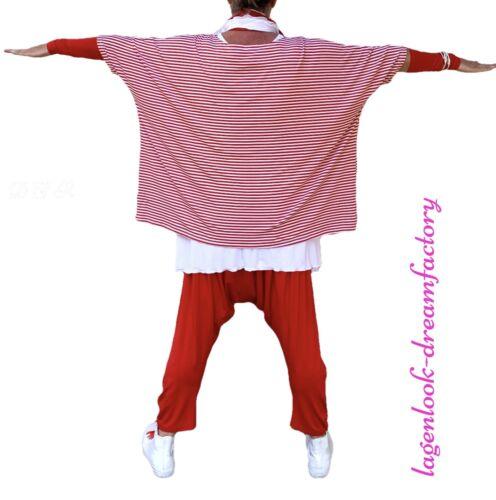 MYO-Lagenlook Oversize Kasten-Shirt Tunika STREIFEN ROT-WEISS 46,48,50,52,54,56