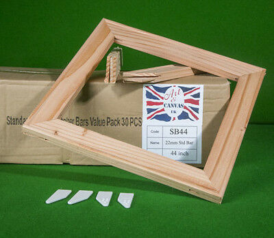 "Value Pack 30 Bars Per Box 30/"" x 18mm Standard Canvas Pine Stretcher Bars"