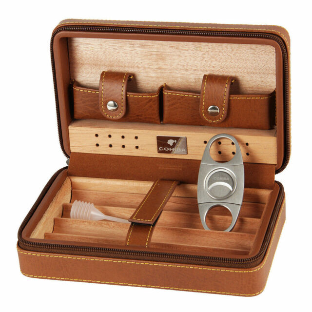 COHIBA Brown Leather Cedar Travel Cigar Case Humidor With Cutter Set 4 Count