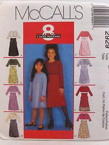 McCalls-2929-Girls-Dress-Sewing-Pattern-Unlined-Jacket-8-Looks-Sizes-4-5-6-Uncut