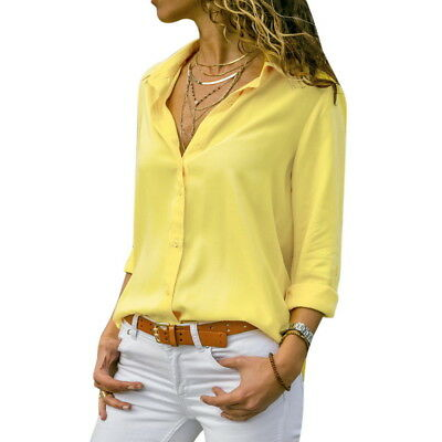 Women Long Sleeve V-neck Loose Tops T Shirt OL Ladies Plain Casual Button Blouse