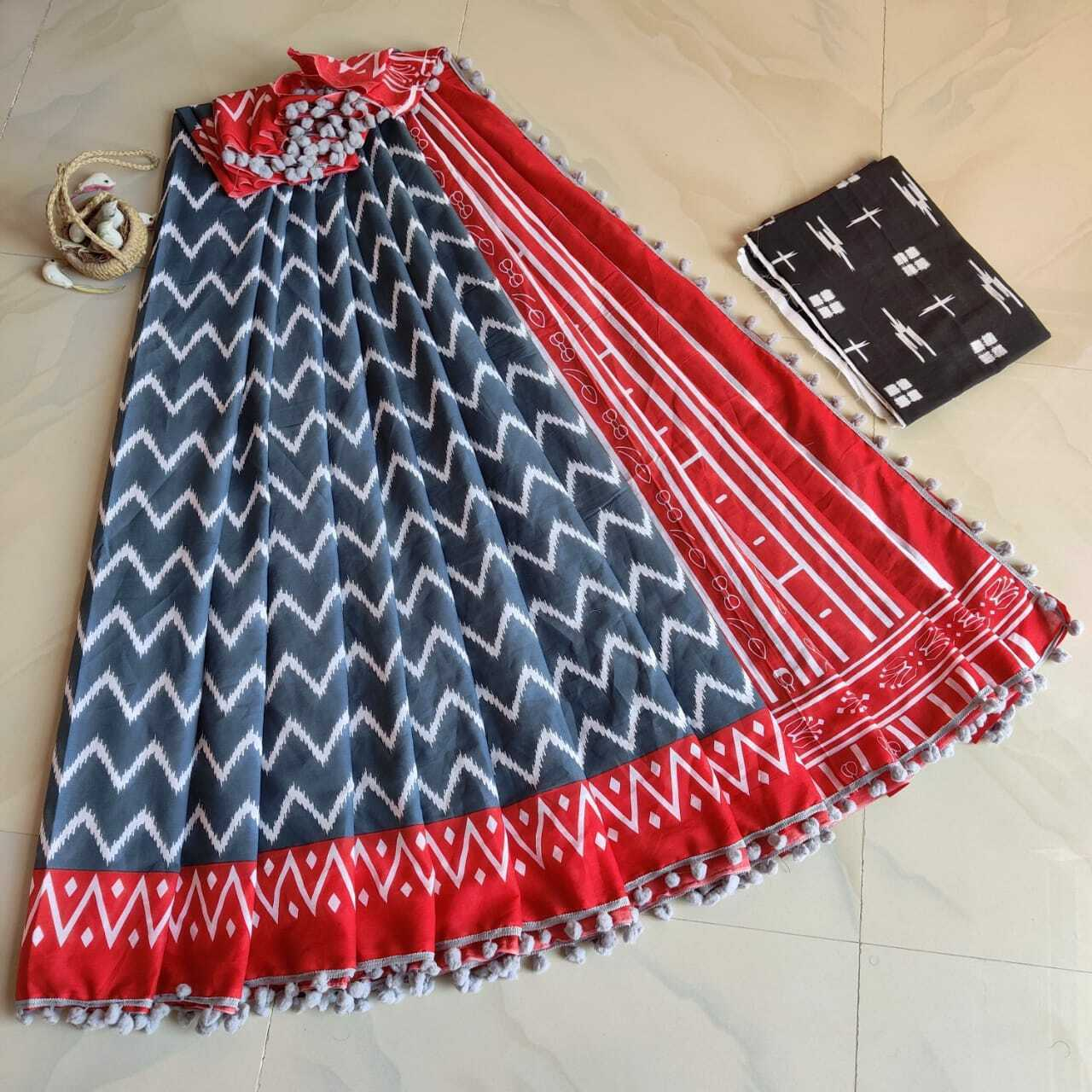 Handprinted Ethnic Pompom Lace Soft Mulmul Cotton Saree Gift For Women & Blouse