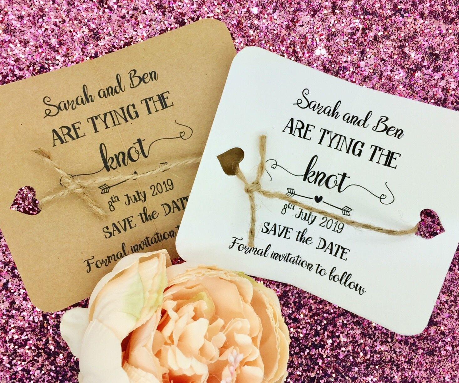Atar el nudo Save The Date noche Tarjeta Invitación de boda con un sobre