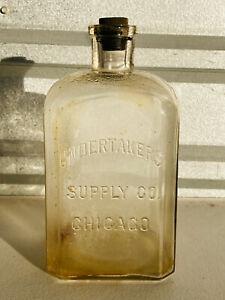 Antique Undertaker's Supply Embalming Fuid Glass Bottle half gallon 64oz lrg #1
