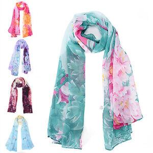 Femmes-papillon-fleur-imprimer-echarpe-en-mousseline-de-soie-long-Wrap-ch-IY