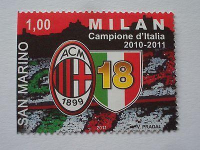 Briefmarke Von 2011 San Marino 1,00 Campione D'italia Acm 1899 Milan V Pradal Schrumpffrei