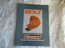 Hendrix Excavator Bucket Construction Equipment Brochure