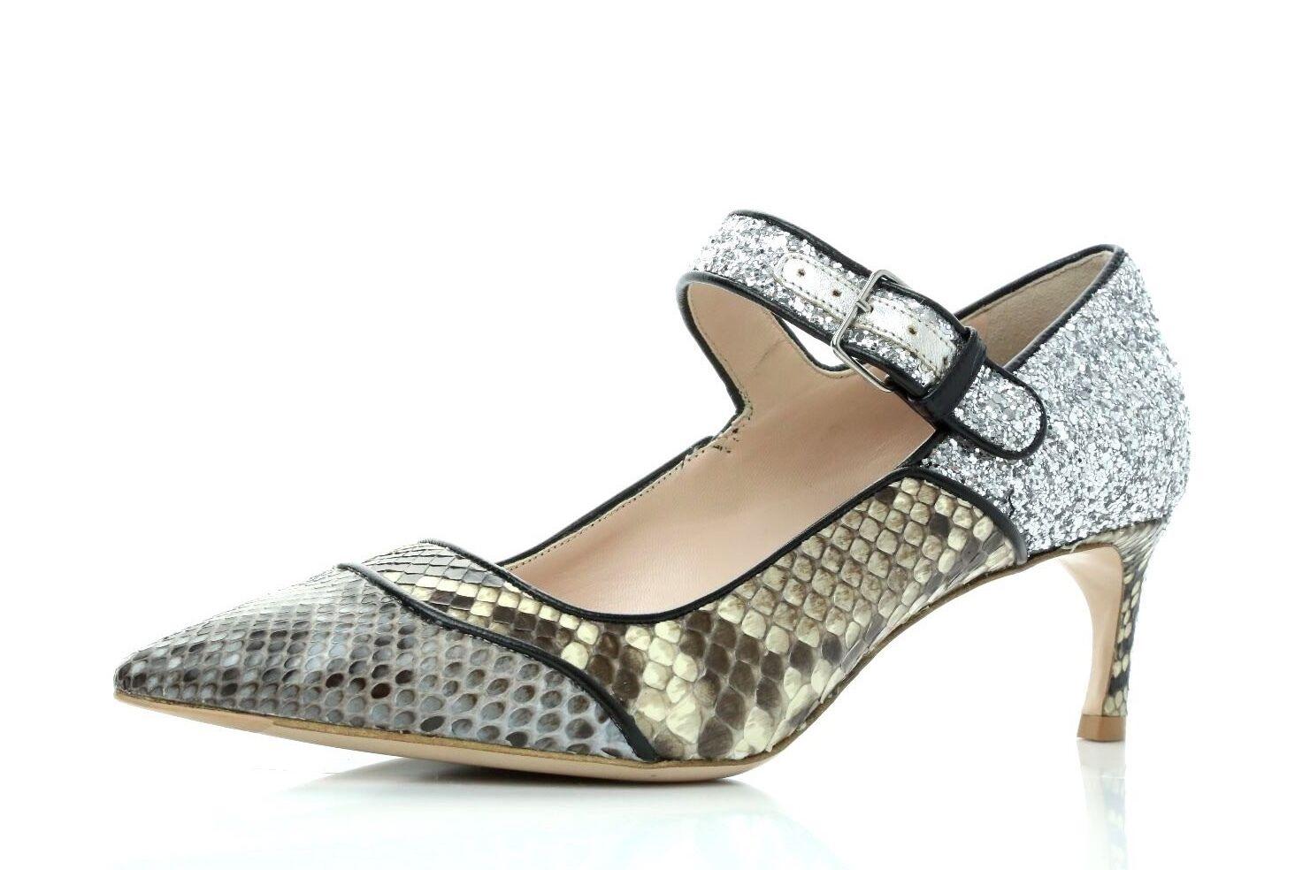 Miu Miu Glitter & Python Snake Leather Pointy Toe Mary Jane Pumps Heels Size 36