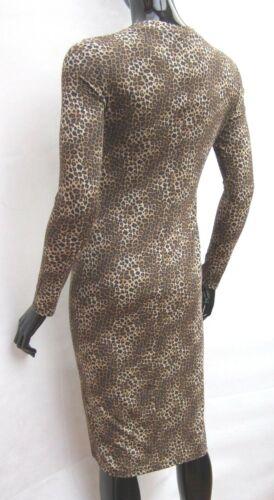 MARKS /& SPENCER BROWN ANIMAL PRINT STRETCH JERSEY PENCIL MIDI DRESS Size 8,12,14