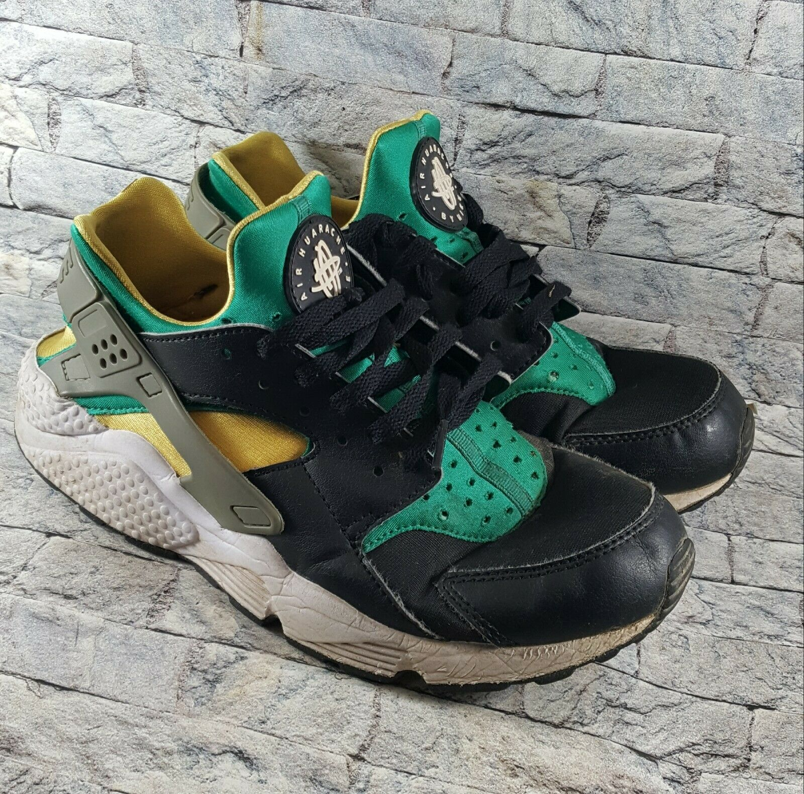 website for discount new authentic beauty Nike AIR HUARACHE Green/Yellow/Black/Gray 318429-018 Athletic ...