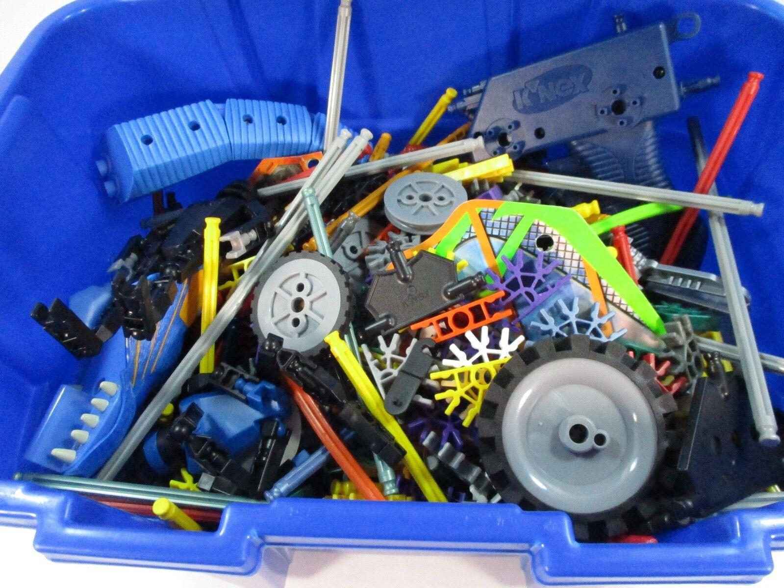Lot of K'NEX Knex Plus Storage Container Wheels Wheels Wheels Connectors Rods efd32a