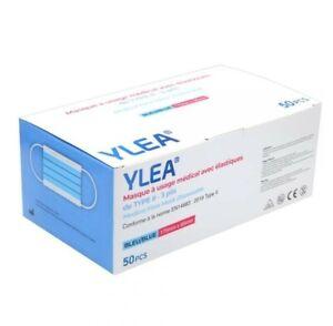 50 masques chirurgicaux YLEA bleus FILTRATION+99% 3 plis de Type II