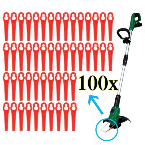 100 Kunststoffmesser Ersatzmesser Messer //Nylon passt für Akku Rasentrimmer DE