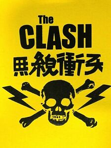 Image is loading The-Clash-Vintage-Japanese-Skull-amp-Crossbones-Yellow- 006ad3a2e13