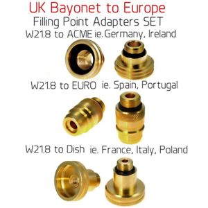 UK Bayonet W21.8 to AMCE EURO M10 All Main Europe Adapters SET Autogas LPG Fill