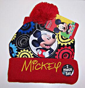 d904c9e0a1d27 Disney MICKEY MOUSE Soft KNIT BEANIE Pom-Pom CAP Hat   MITTENS ...