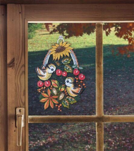 Saughaken Fensterbild Herbststimmung aus Plauener Spitze Herbstdeko inkl