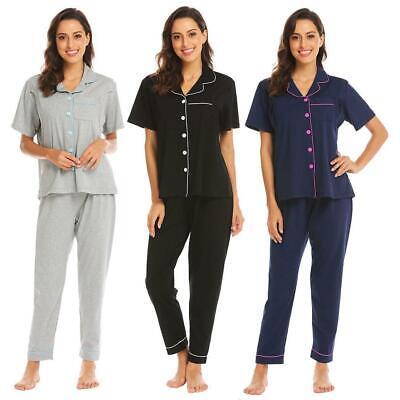 Women Short Sleeve Maternity Nursing Breastfeeding Sleepwear Pajamas Set W2YN 01