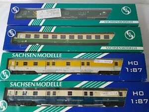 4X-VARIOUS-SACHSENMODELLE-HO-SCALE-COACHES-14638-74559-74551-74407-NEW-UNUSED-BD