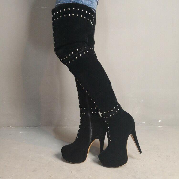 Mode kvinnor Thigh höga stövlar Faux mocka High klackar skor Plus storlek 4 -20